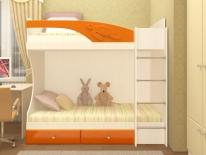 """""""Бемби"""" кровать двухярусная(оранжевый)."""