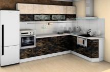 "Кухня""Санрайс-1"" Иллюзия черная/Иллюзия бежевая"